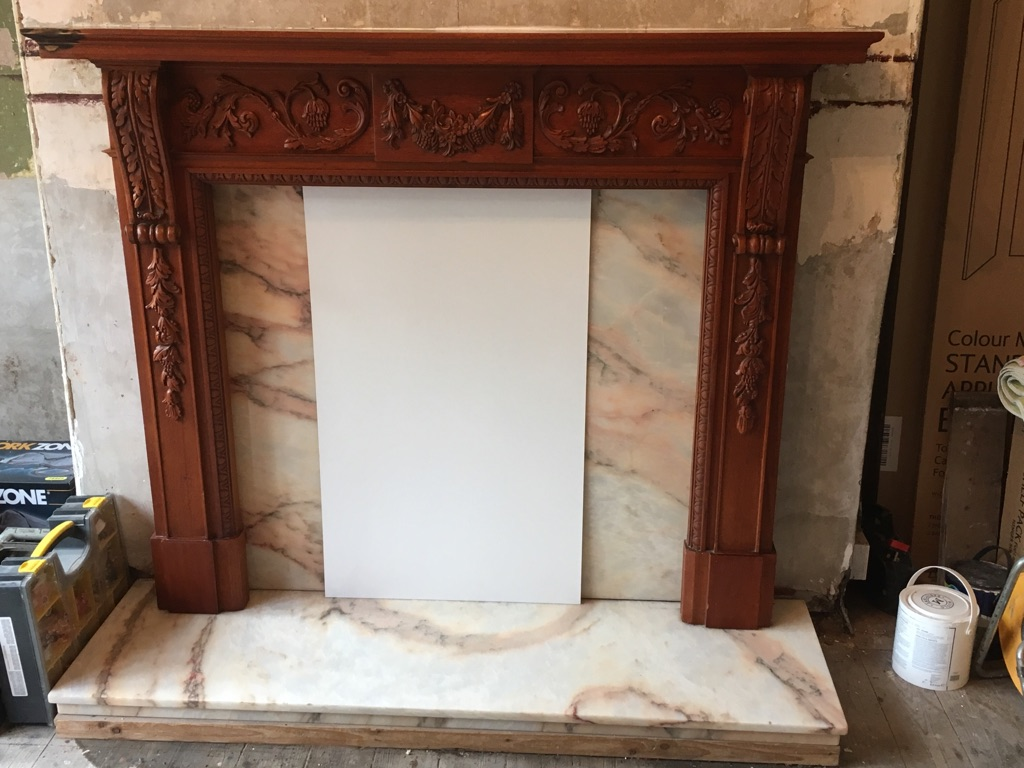 Ornate Wooden Fireplace Surround, Marble Hearth & Fire Back