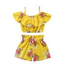 2pcs floral printed ruffle t-shirt & shorts set