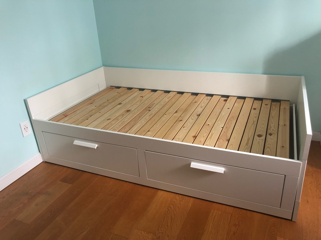 IKEA BRIMNES white twin daybed with 2 drawers