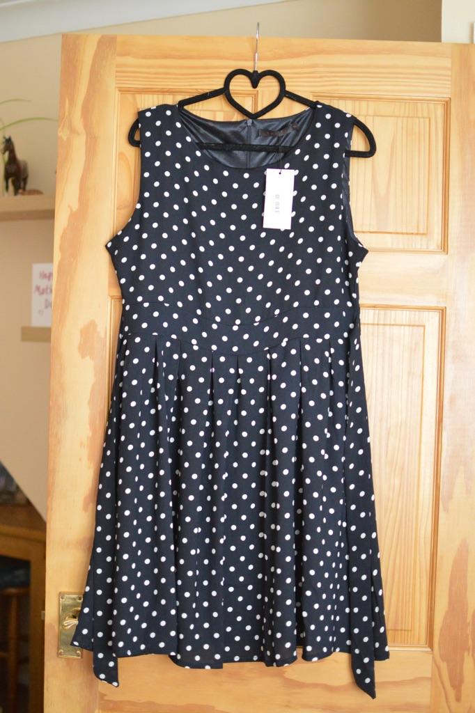 Size 14 navy blue polka dot dress