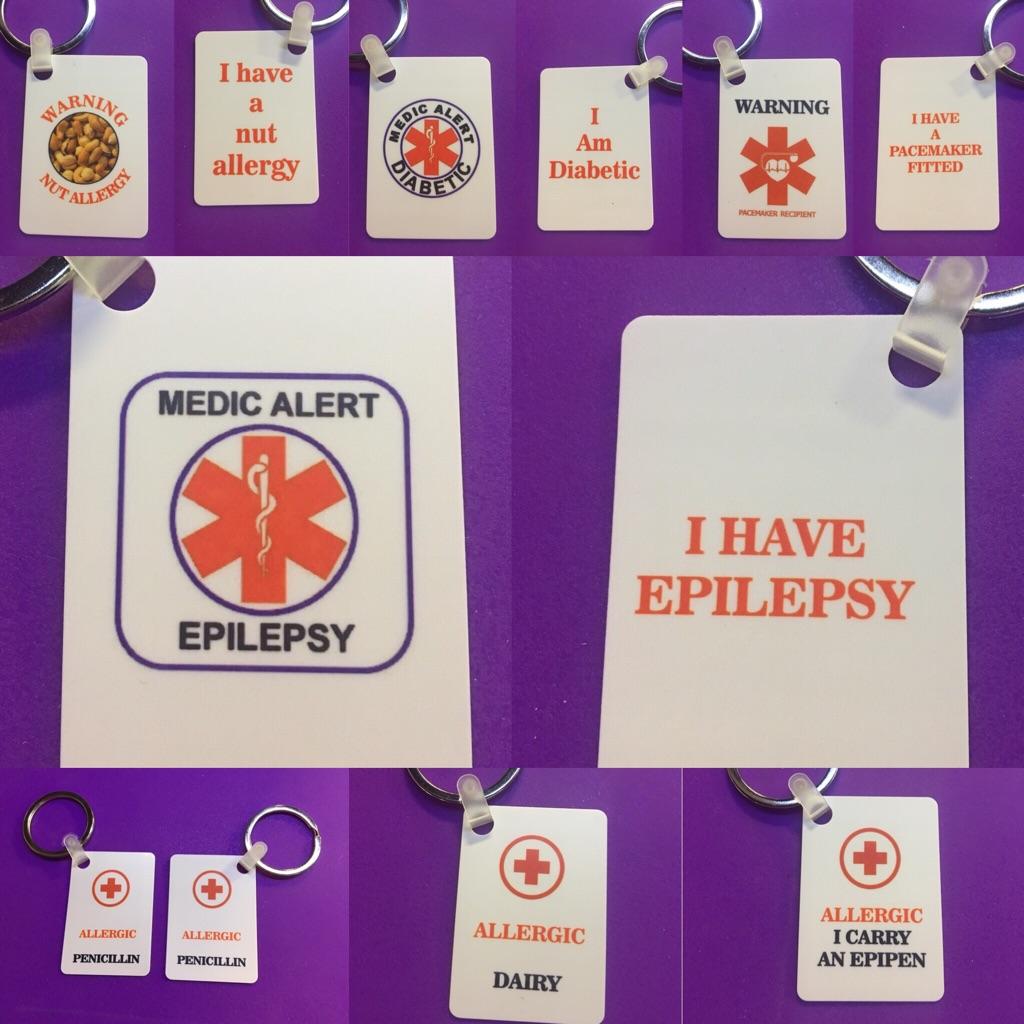Medical alert / warning keyrings