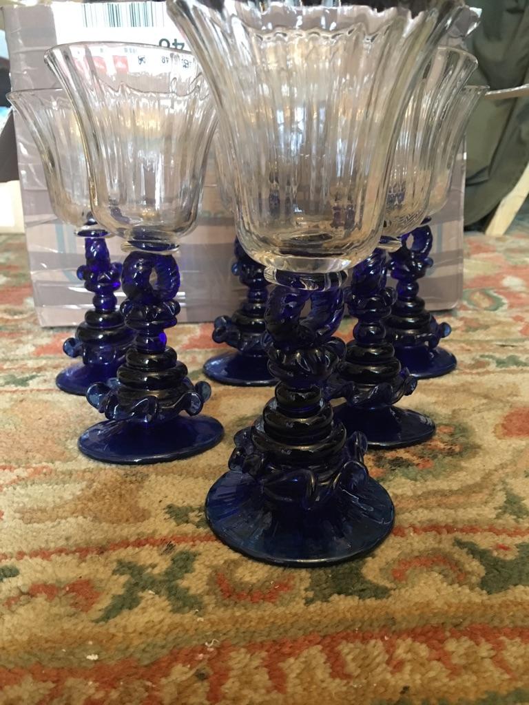 Vintage six wine glasses