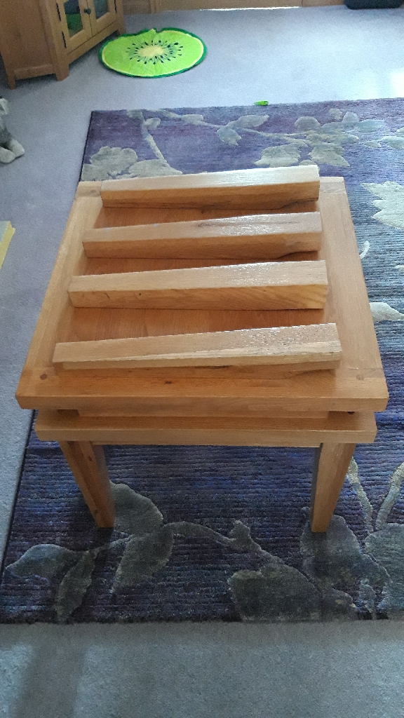 Two solid Oak coffee tables