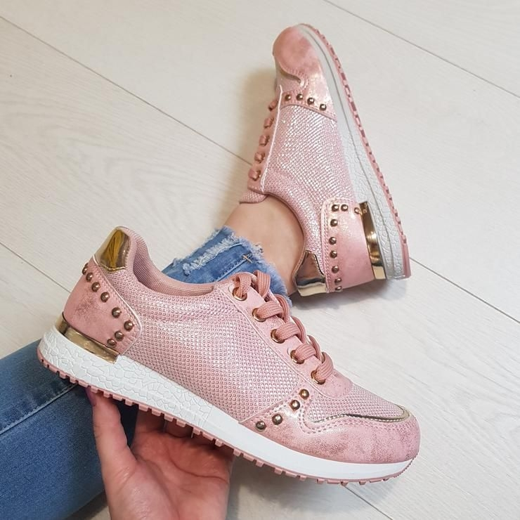 Lisa Studded Trainers - Pink