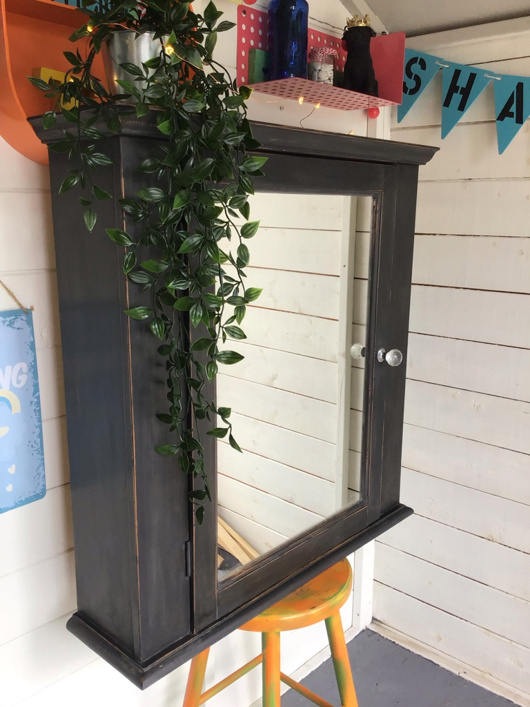 Shabby chic large cupboard with mirror door