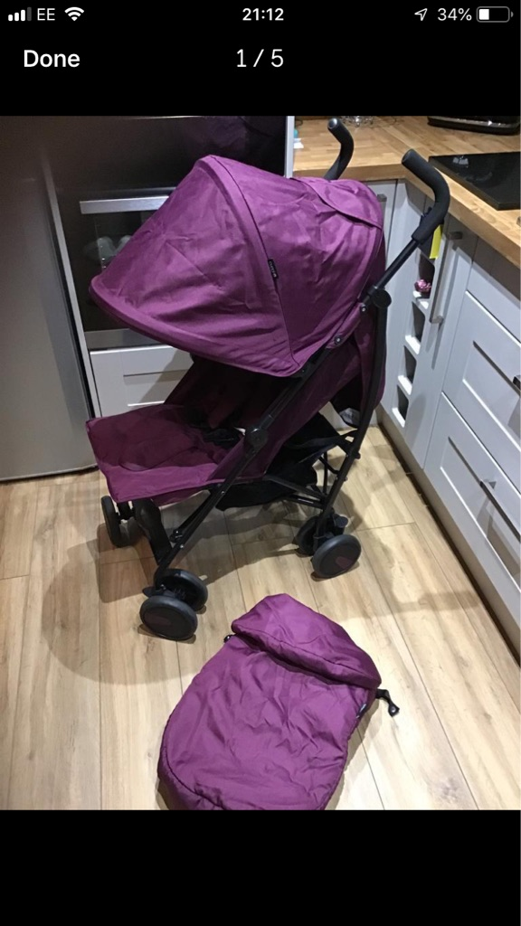 Cuggl Maple Pushchair with Footmuff - Mulberry