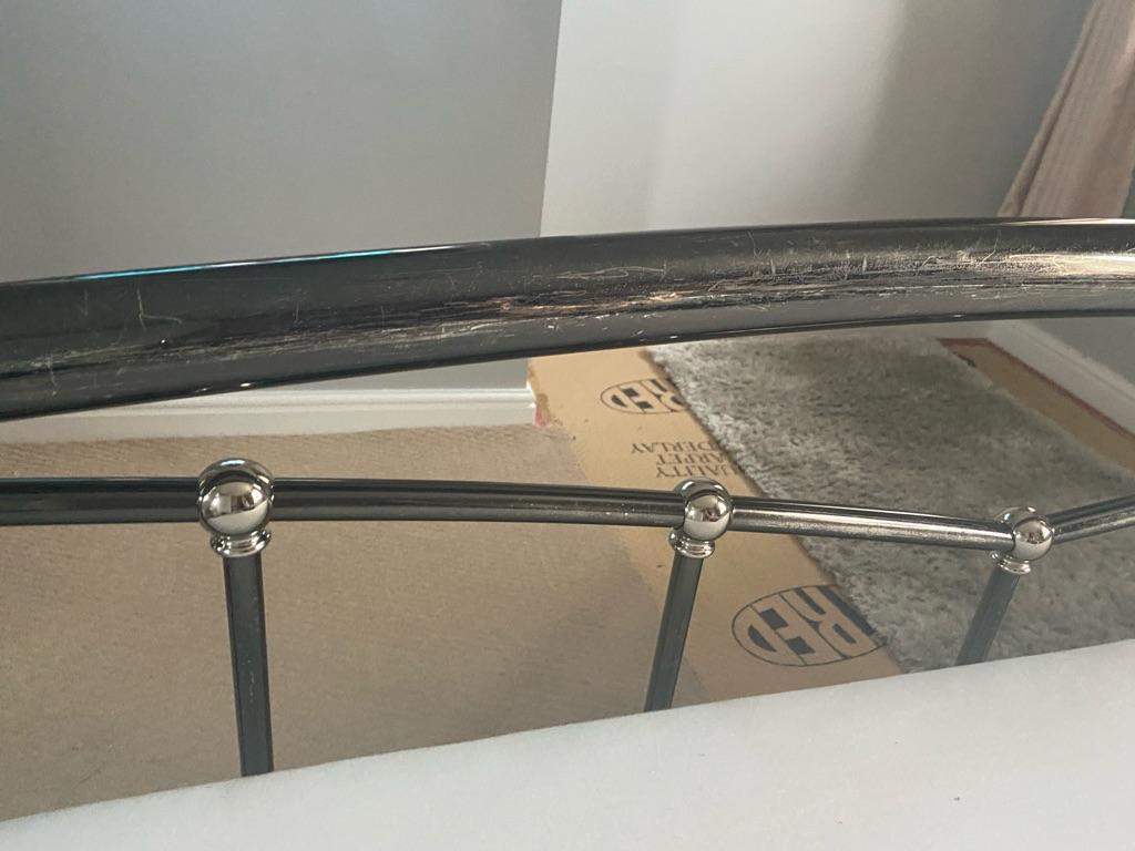 Dark grey metal double bed frame
