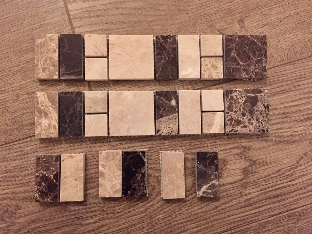 Dark brown, brown & cream marble border tile.