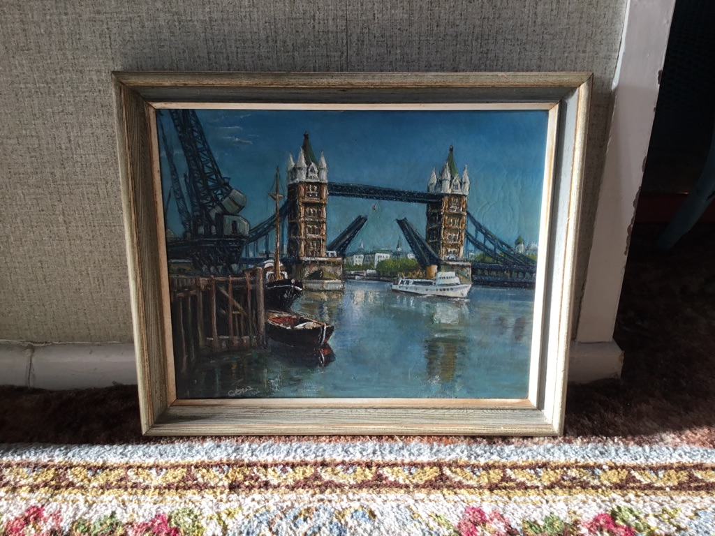 Tower bridge London oil on canvas signed tiny hole on canvas ideal for artist to repair 18in 15in