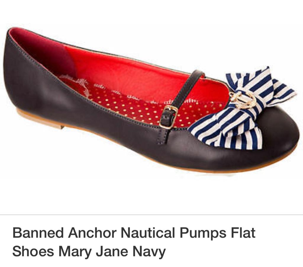 Banned brand - nautical inspired Mary Jane flats size 5 UK / Euro 38