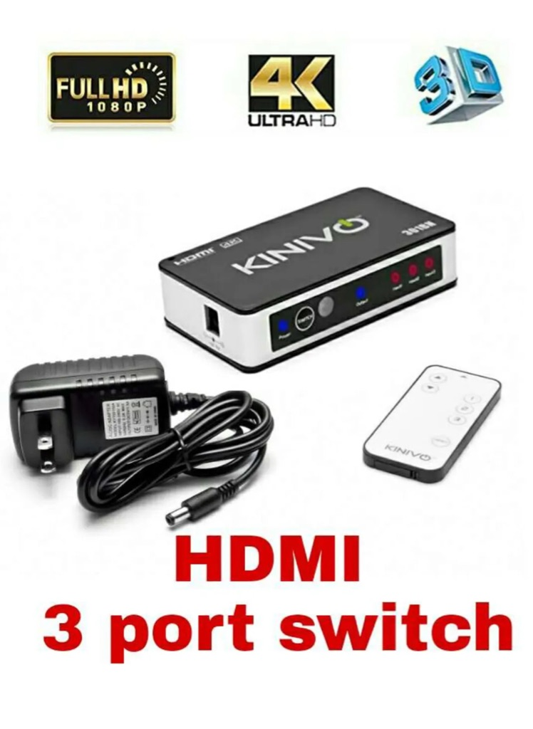 3-Port High Speed 4K HDMI Switch With IR Wireless Remote And AC Power Adapter - Supports 4K  For Xbox 360/One, PS4/PS3, Nintendo Switch, Blu-ray Player, Apple TV, Roku etc  (New)