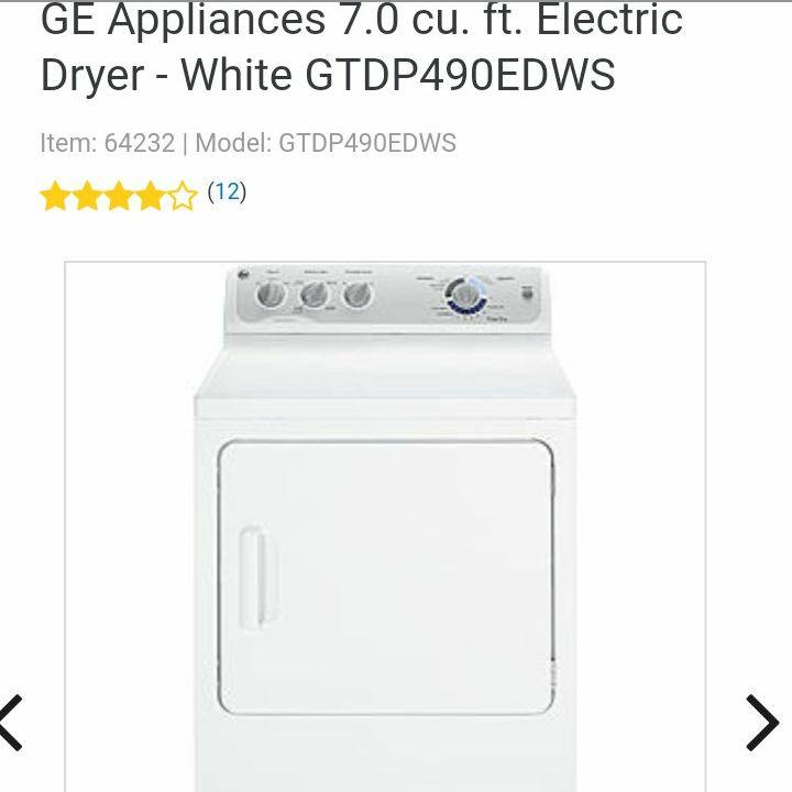 2012 GE Appliances 7.0 cu. ft. Electric Dryer - White GTDP490EDWS