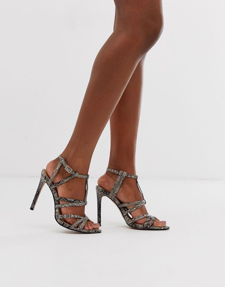 ASOS DESIGN High Maintenance strappy poined heeled sandals in snake print