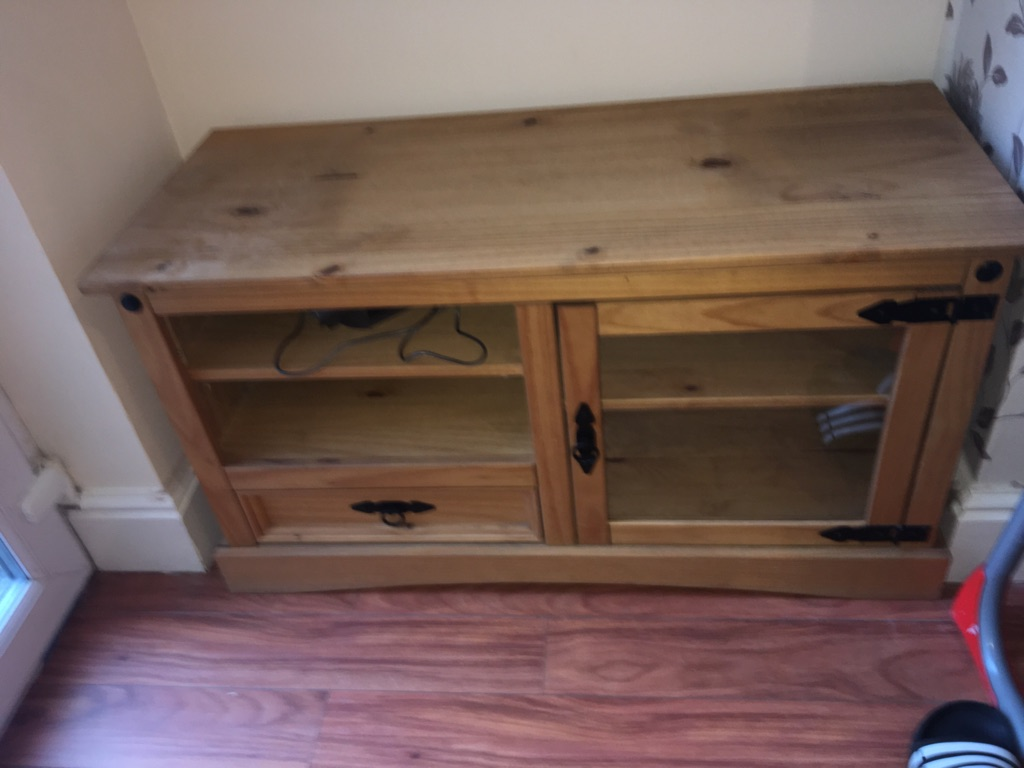 Solid oak wooden tv stand