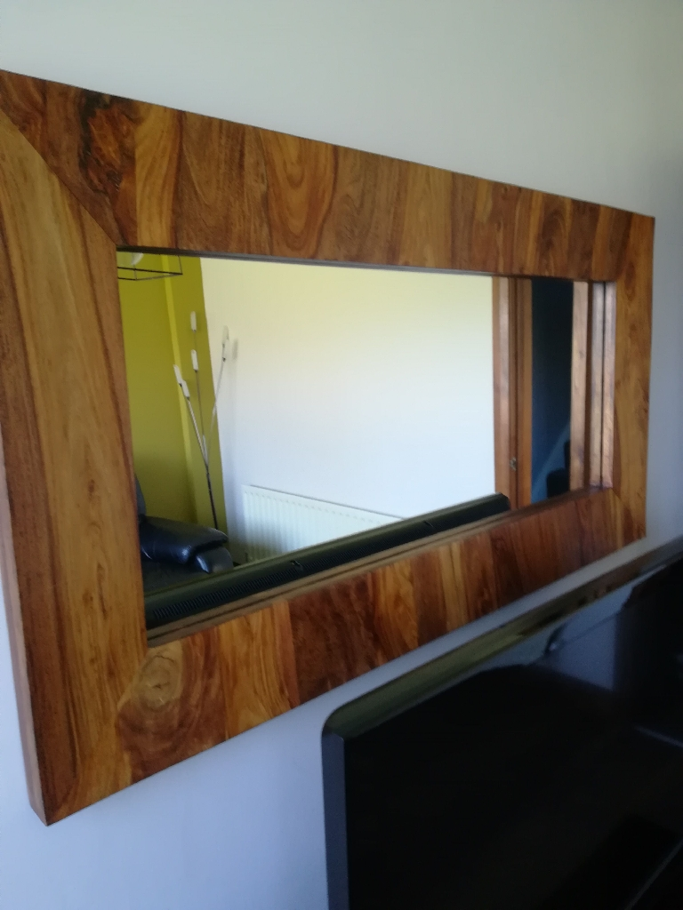 Walnut sideboard and matching mirror