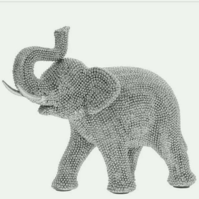 LEONARDO SILVER ART LUCKY ELEPHANT STANDING ORNAMENT SPARKLING SILVER DIAMANTE