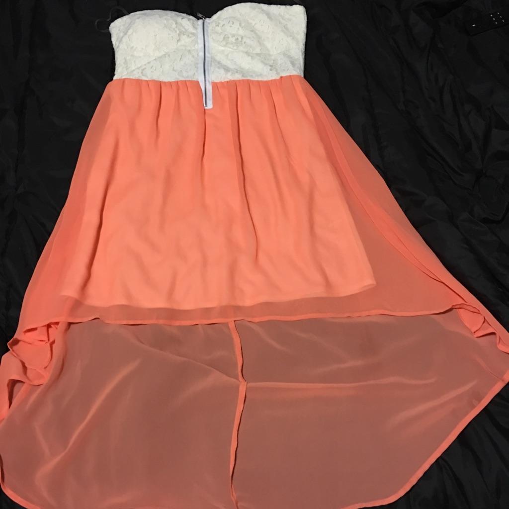 Peach and white high love dress