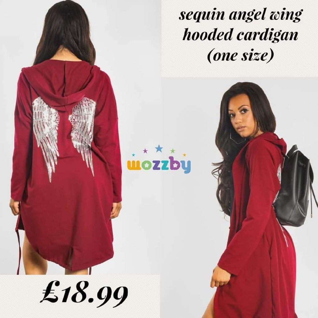 Sequin angel wing hooded cardigan One size