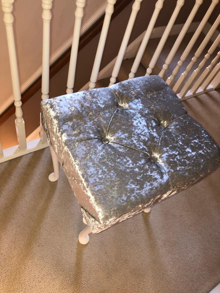 CRUSHED VELVET STOOL Dressing  / Vanity / Piano Plush Diamante Bedroom home